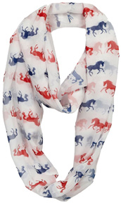 """Lila"" Infinity Scarf Silhouette BLUE/RED Horses #GG1038RWB"