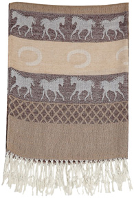 Equestrian Pashmina Scarf BROWN/White Horses #GG1035BR