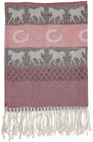 Equestrian Pashmina Scarf PINK/White Horses #GG1035PK