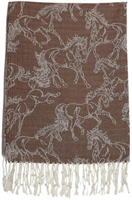 Lila Linear Horse Pashmina Scarf BROWN #GG1020BR