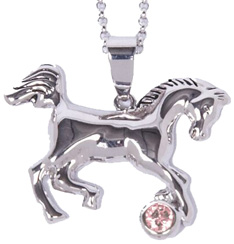 Rhodium-Plated Horse Necklace PINK STONE #JN634PK