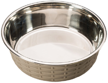 Ethical Pets Soho Basket Weave Stainless Dog Dish Copper 30 Oz